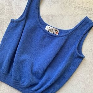 St John Santana Knit Blue Cropped Tank